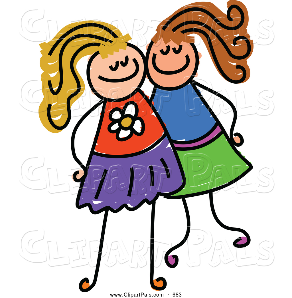 1024x1044 Pal Clipart Of A Childs Sketch Of Two Grinning Girls Posing