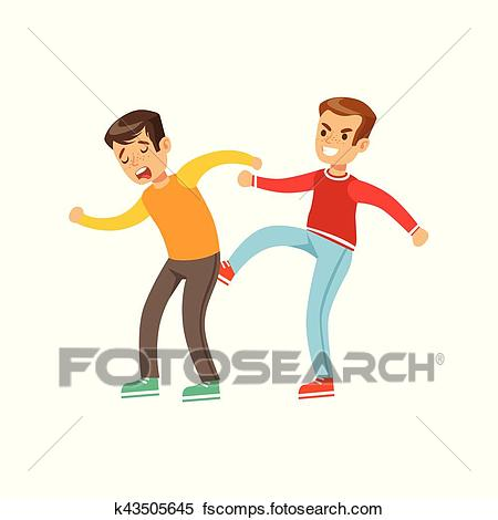 450x470 Clipart Of Two Boys Fist Fight Positions, Aggressive Bully In Long