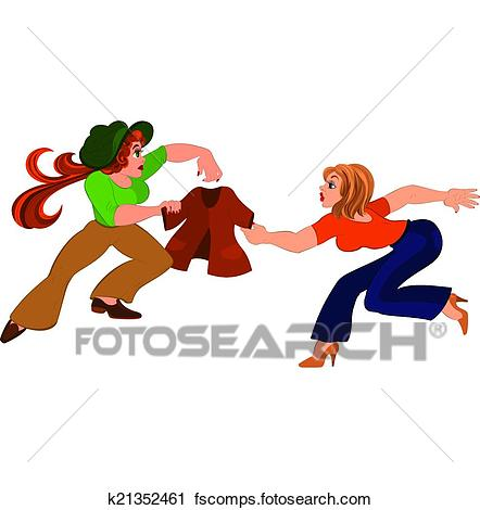 442x470 Clipart Of Two Cartoon Girls Fighting Over Brown Jacket K21352461