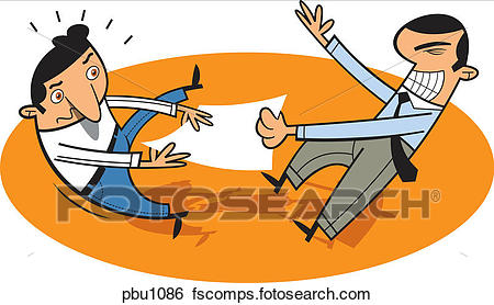 450x278 Stock Illustration Two Businessmen Fighting Over A Piece
