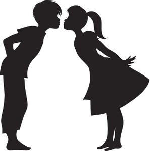 297x300 Two People Kissing Clipart