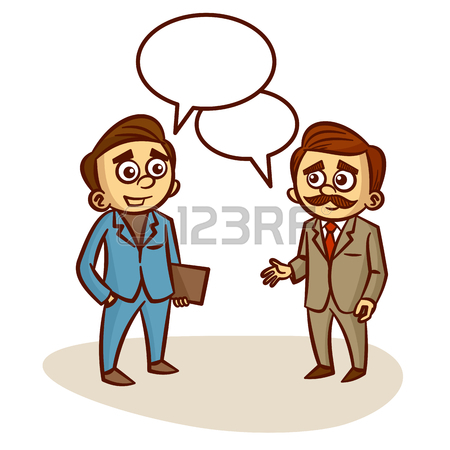 450x450 Two Businessmen Talking About Business Clipart Royalty Free
