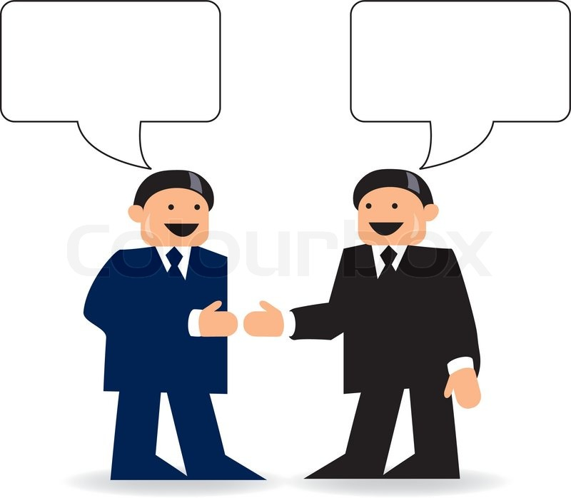 800x698 Two Businessmen Talking With Talk Bubbles Stock Vector Colourbox