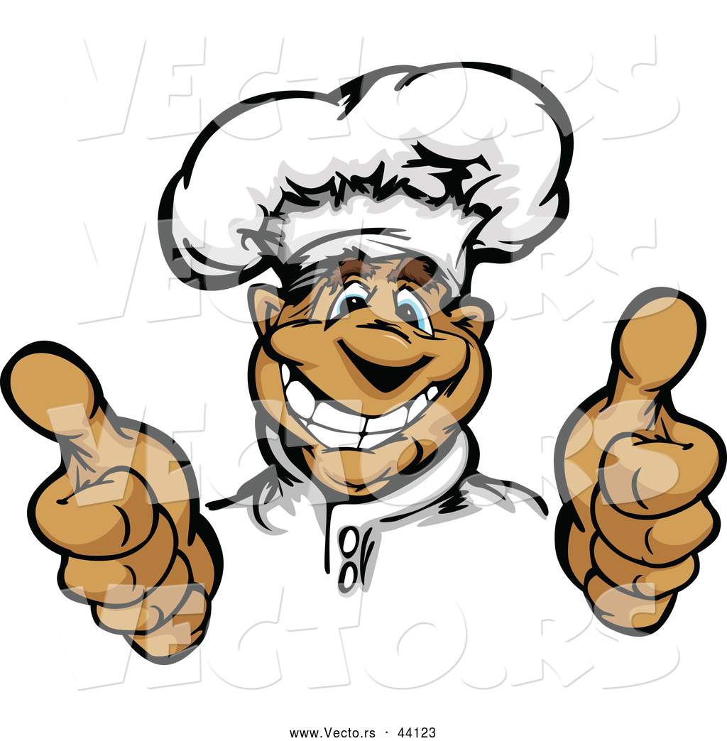 1024x1044 Vector Of A Smiling Cartoon Male Chef Mascot Hand Gesturing