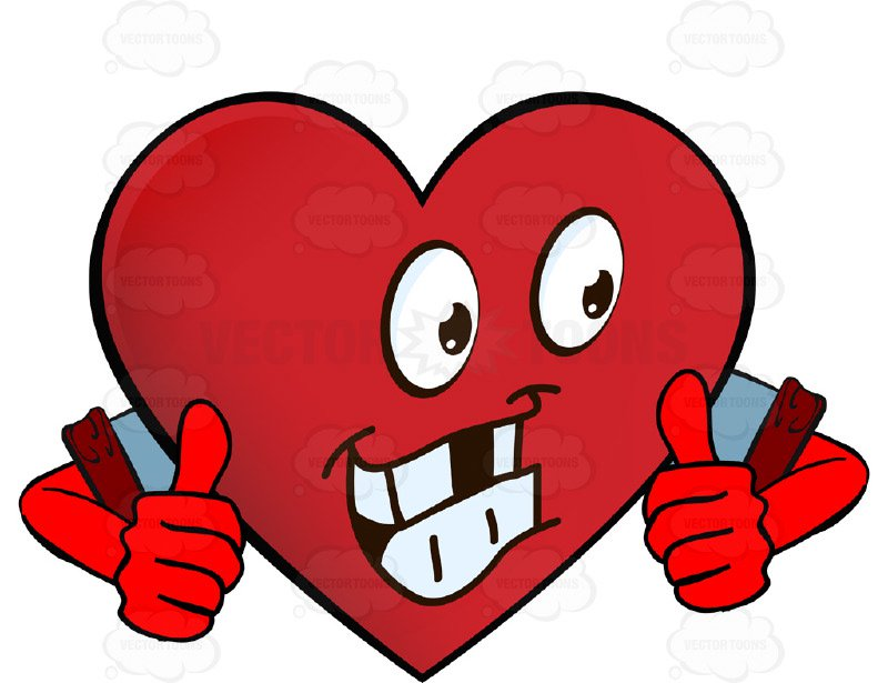 800x615 Heart Smiley With Arms Wearing Rolled Up Sleeves Giving Two Thumbs