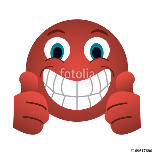 500x500 Grin With Two Thumbs Up Emoji Instant Messaging Icon Image Vector