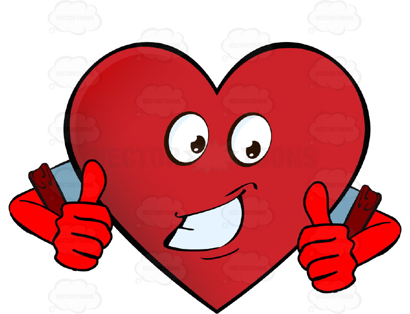 800x613 Approving, Encouragaing Heart Smiley With Two Thumbs Up Wearing
