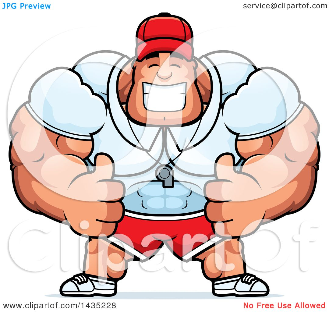 1080x1024 Clipart Of A Cartoon Buff Muscular Sports Coach Giving Two Thumbs