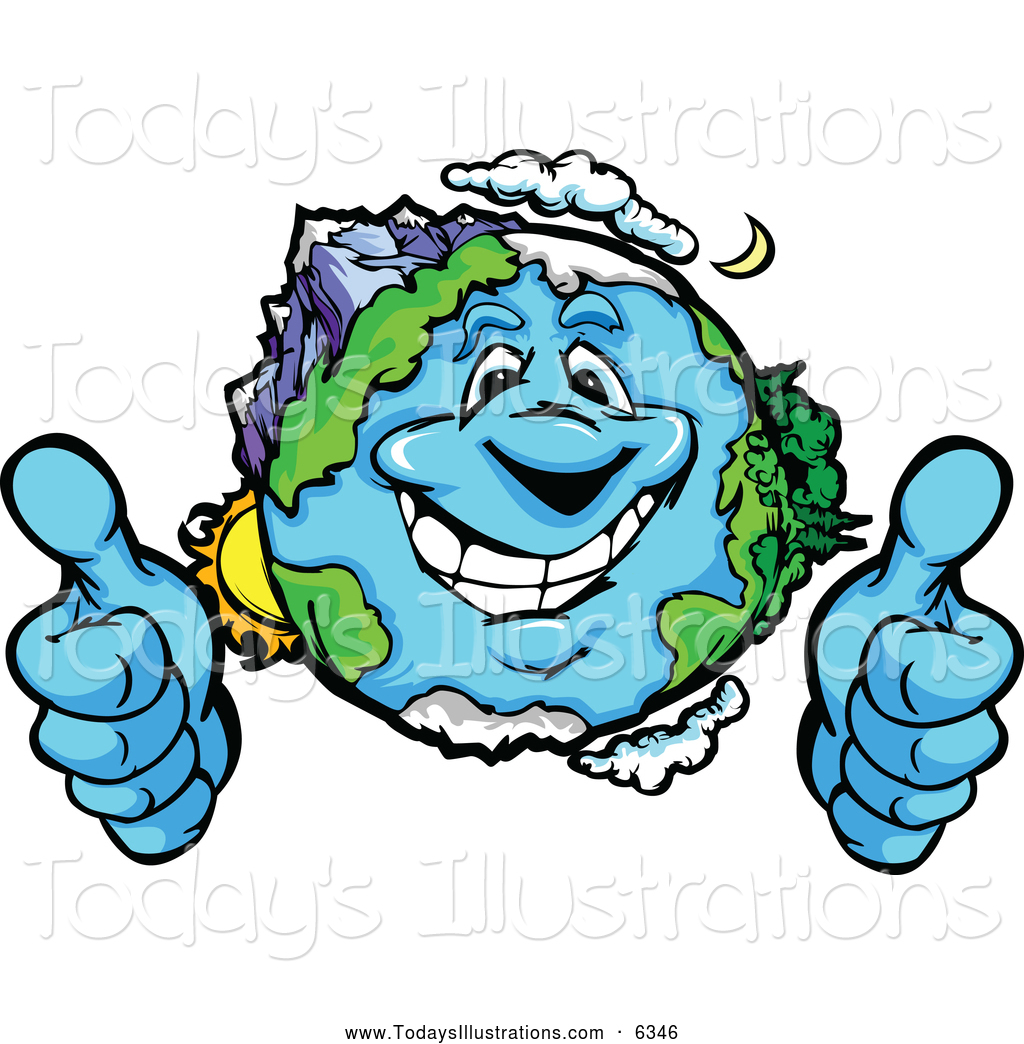 1024x1044 Clipart Of A Happy Earth Mascot Giving Two Thumbs Up By Chromaco