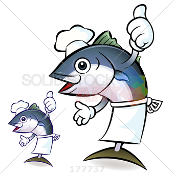 340x340 Stock Illustration Of Two Blue Tuna Chef With Thumbs Up And Apron