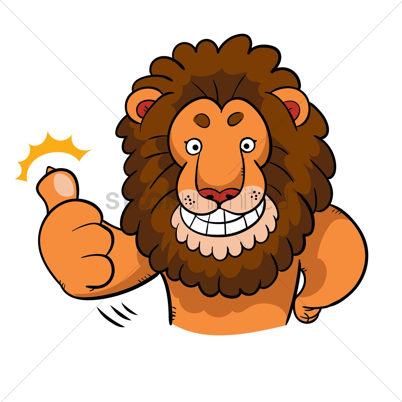 1300x1300 Cartoon Lion Giving Two Thumbs Up Vector Image