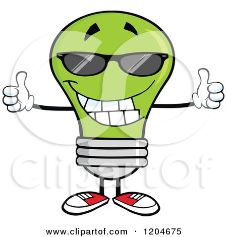 450x470 Cartoon Of A Happy Green Light Bulb Mascot Holding Two Thumbs Up