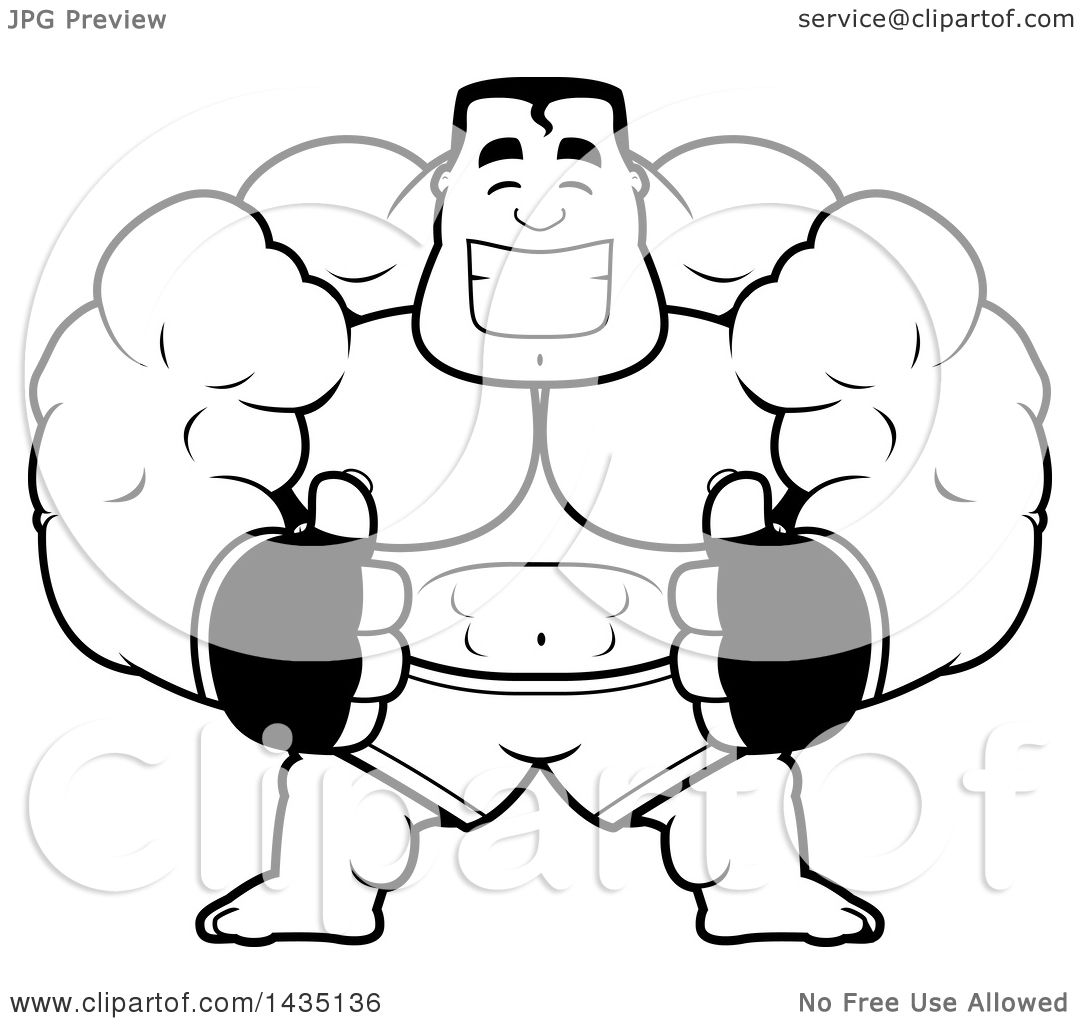 1080x1024 Clipart Of A Cartoon Black And White Lineart Buff Muscular Mma