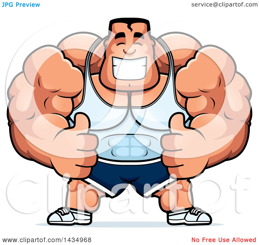 1080x1024 Clipart Of A Cartoon Buff Beefcake Muscular Bodybuilder Giving Two