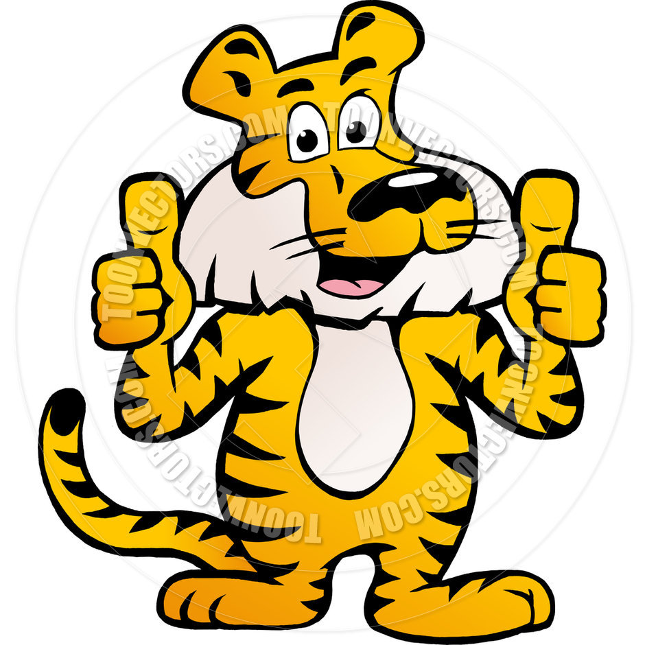 940x940 Cartoon Happy Siberian Tiger Giving Two Thumbs Up By Poul Carlsen