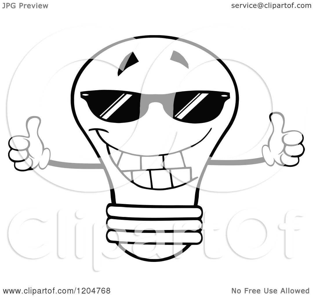 1080x1024 Cartoon Of A Happy Black And White Light Bulb Mascot Holding Two