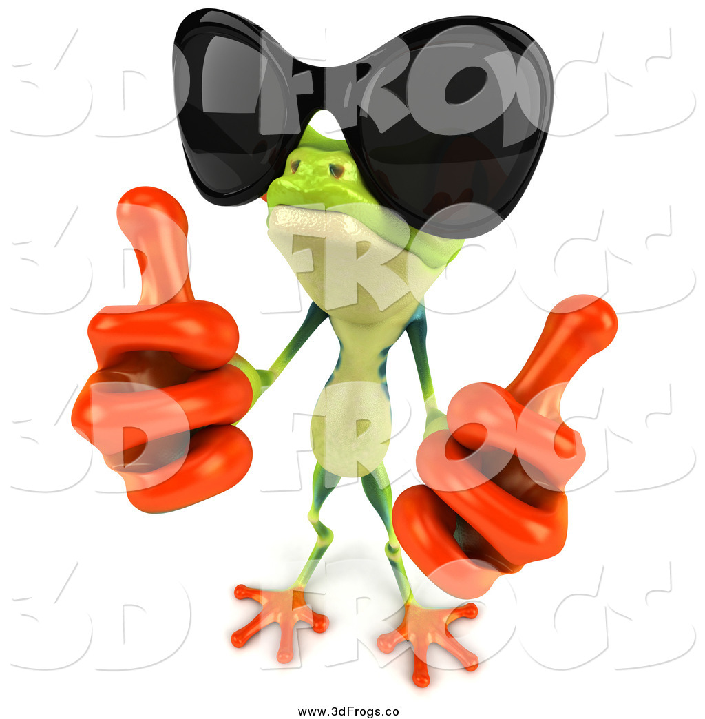 1024x1044 Illustration Of A 3d Frog Wearing Sunglasses And Holding Up Two