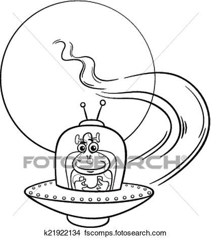 418x470 Clipart Of Alien In Ufo Cartoon Coloring Page K21922134