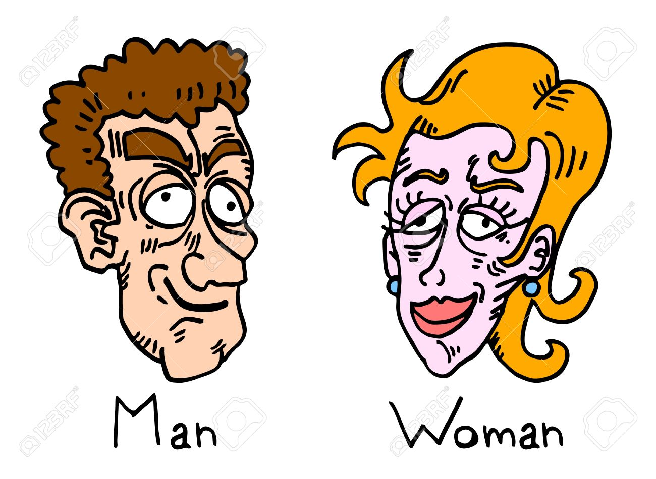 1300x950 Comic Draw Of Ugly Man And Woman Royalty Free Cliparts, Vectors