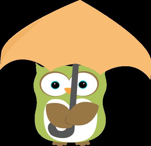 491x476 Owl Under Umbrella Clip Art
