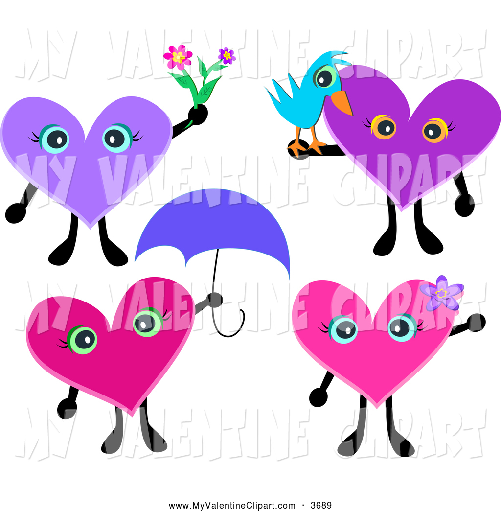 1024x1044 Valentine Clipart Of Heart Characters With Flowers, A Bird