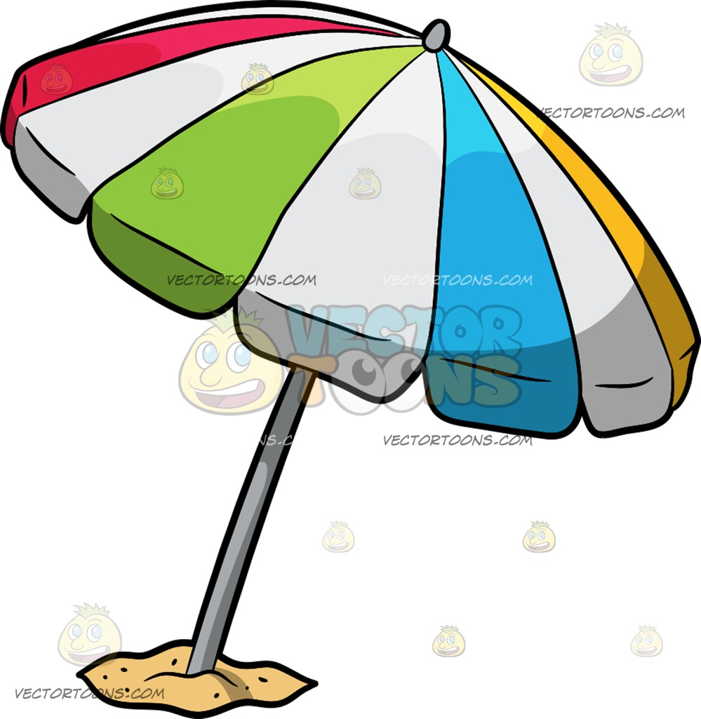 999x1024 A Beach Umbrella Cartoon Clipart