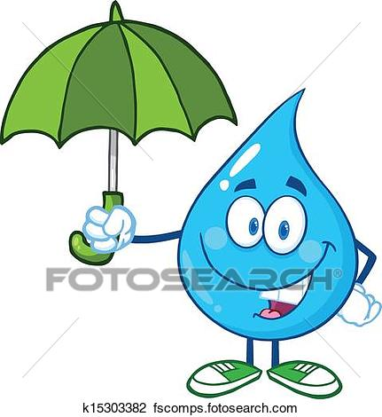 431x470 Clipart Of Smiling Water Drop With Umbrella K15303382
