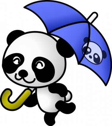 378x425 Umbrella Panda Vector Clip Art Free Vector Free Download