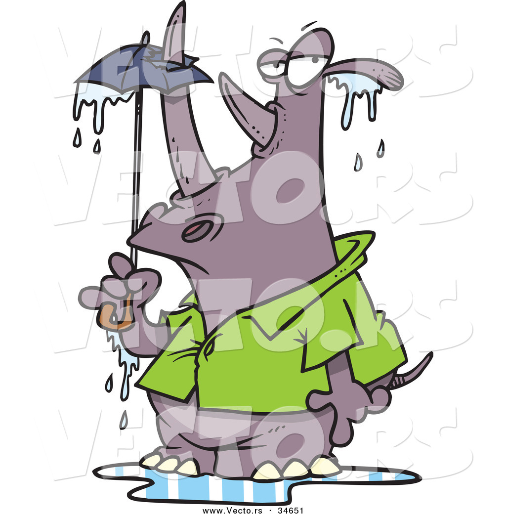 1024x1044 Vector Of A Big Cartoon Rhino Standing Under A Tiny Umbrella By