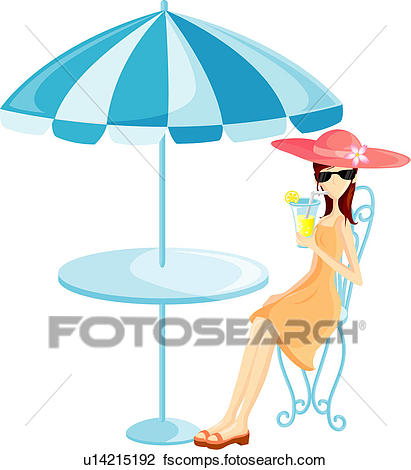 411x470 Clip Art Of Woman Sipping A Drink Under An Umbrella U14215192