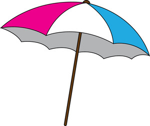 300x253 Beach Umbrella Clipart Image