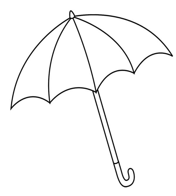 600x667 Umbrella Clipart Line Drawing