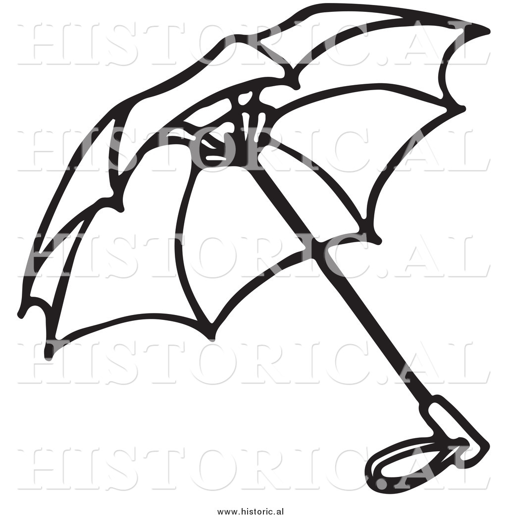 1024x1044 Historical Clipart Of An Opened Umbrella Outline By Picsburg