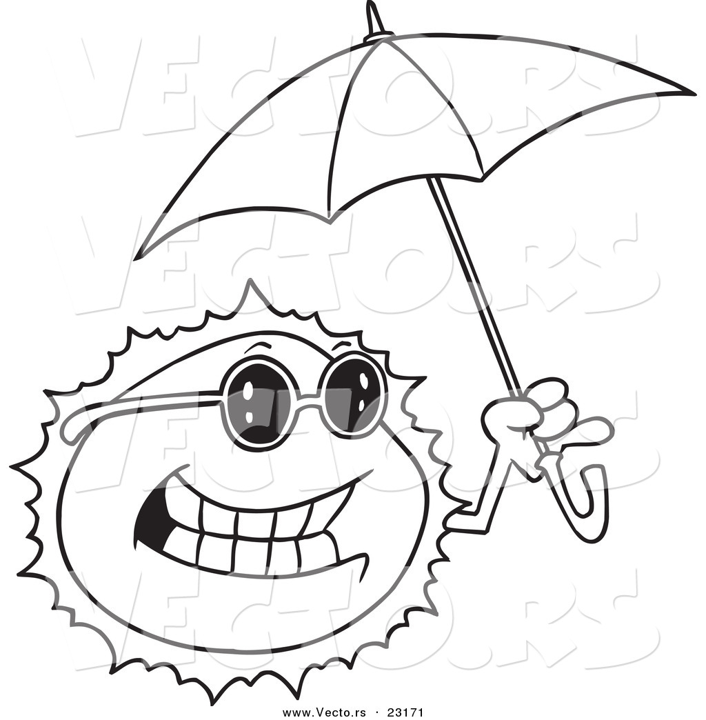 1024x1044 Vector Of A Cartoon Sun Holding An Umbrella