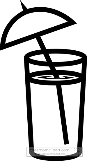 299x550 Drink And Beverage Clipart Clipart Drink With Umbrella Bw Outline