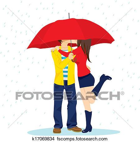 450x455 Clipart Of Hiding Kiss Under Umbrella K17069834