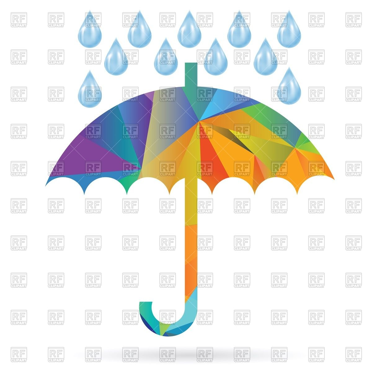 1200x1200 Colorful Polygonal Umbrella With Rain Drops Royalty Free Vector