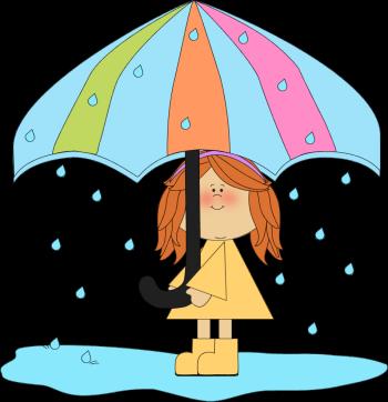 350x362 Girl Playing In The Rain Clip Art