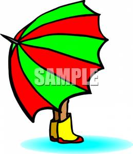259x300 Person In Rain Boots Holding A Large Umbrella Clipart Picture
