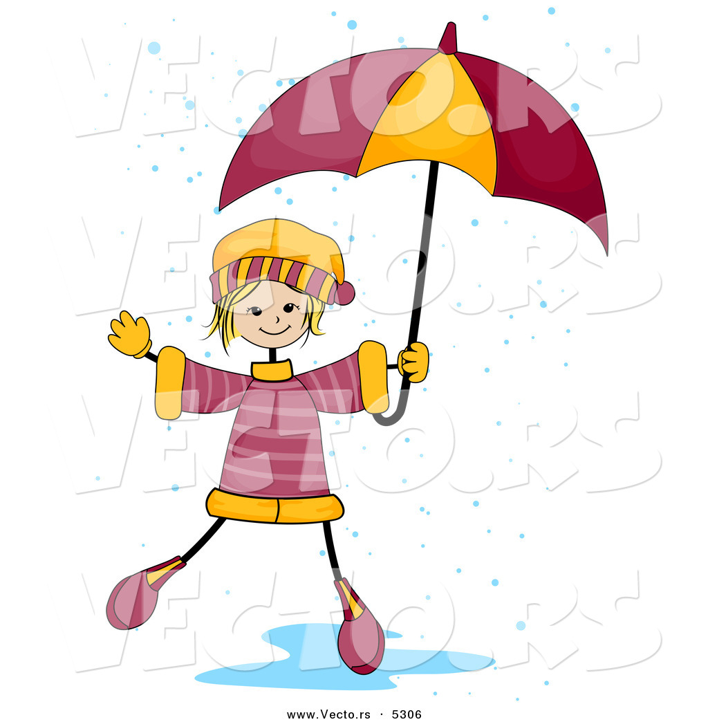 1024x1044 Vector Of A Happy Girl Playing In A Rain Puddle While Holding