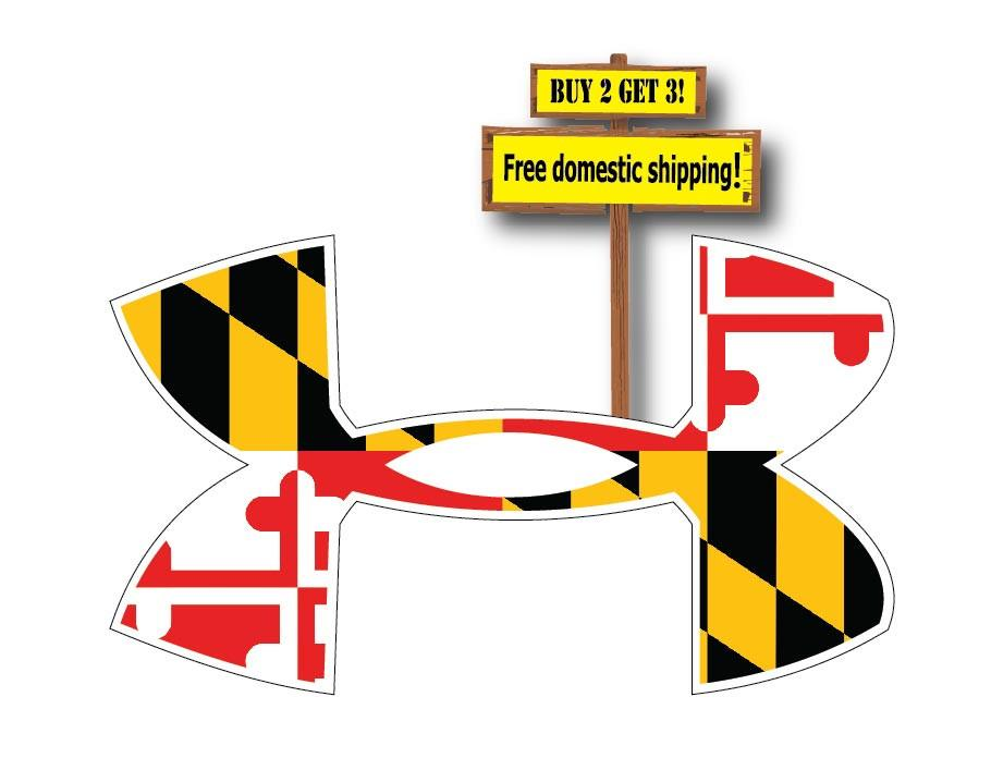 910x696 Under Armour Logo With Maryland Flag Decalsticker Free Shipping