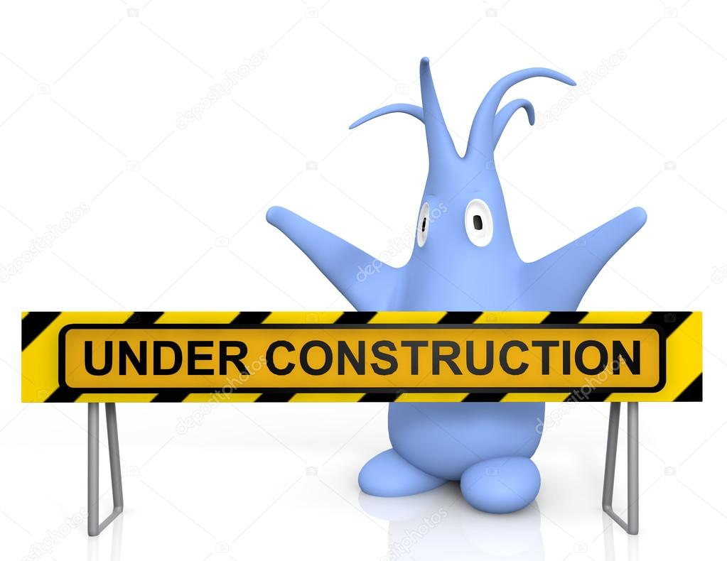 1023x790 Cute Blue Monster And Under Construction Sign Stock Photo