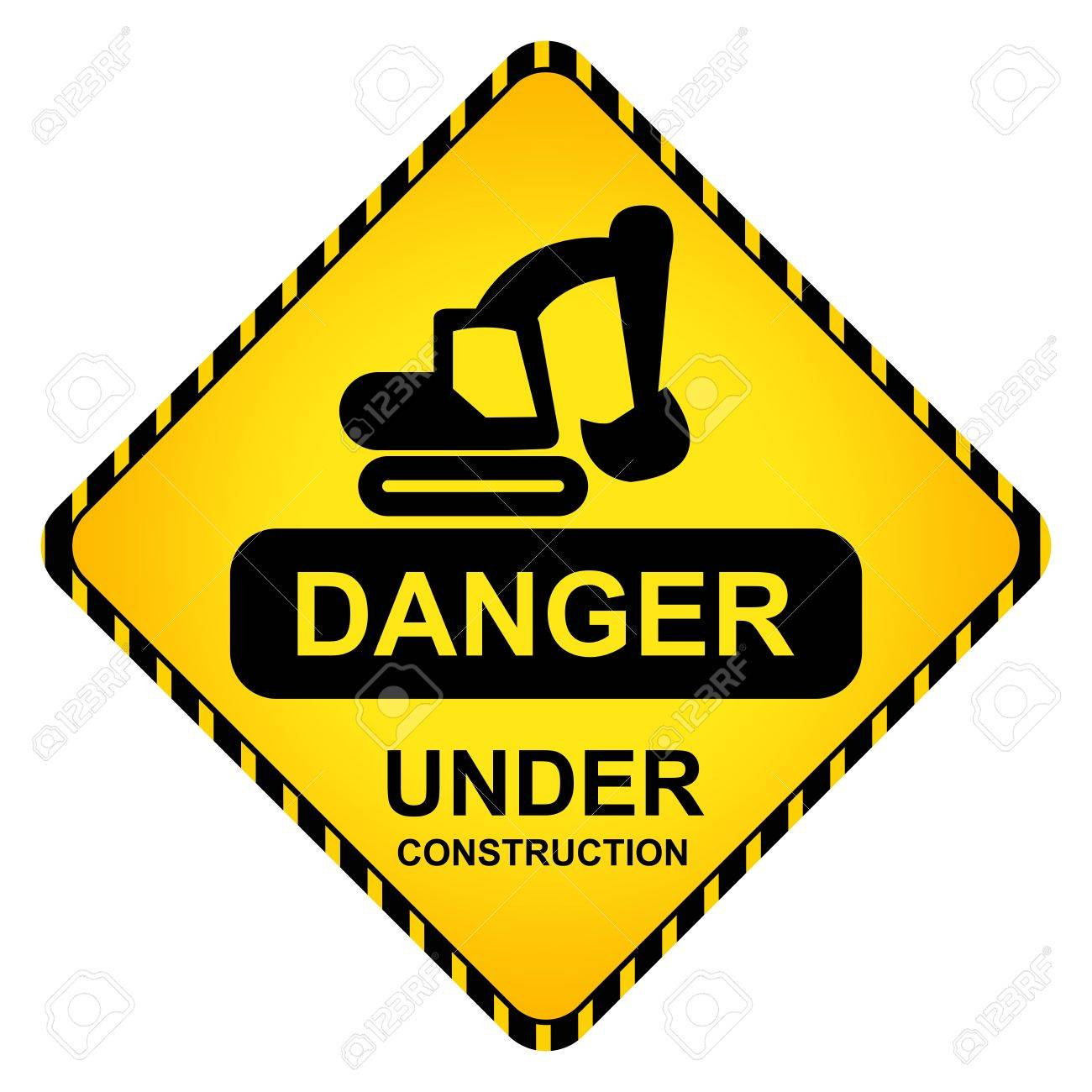 1300x1300 Danger Under Construction Traffic Sign With Backhoe Icon Isolate