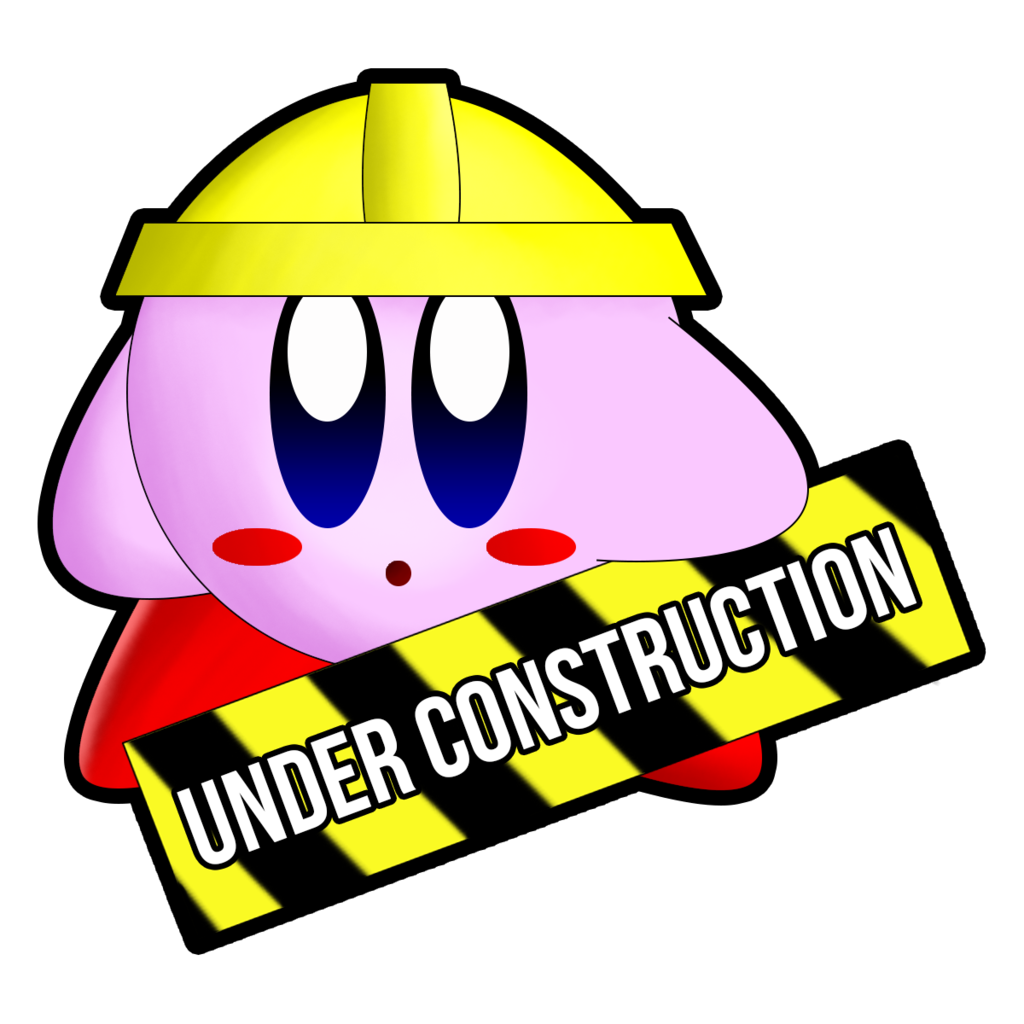 1024x1024 Kirby Under Construction Graphic (Outlined) By Pupsdraws