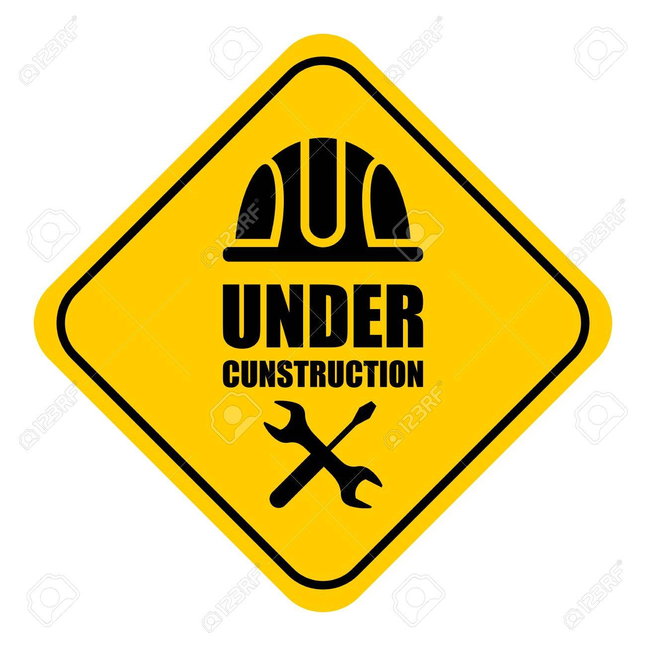 1300x1300 Warning Sign Under Construction. Logo Concept. Cartoon Flat Vector
