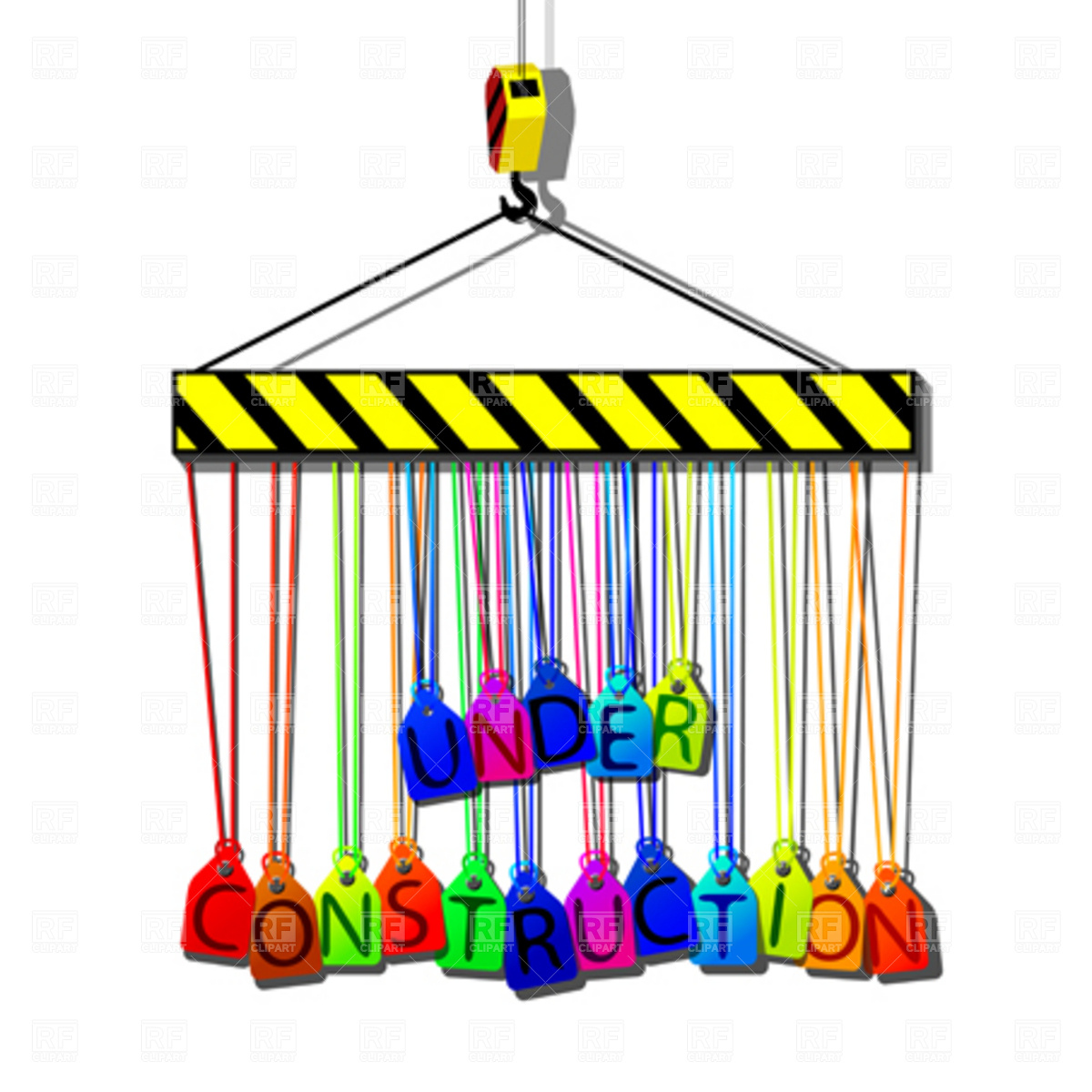 1200x1200 Under Construction Tags Hanging On A Hook Royalty Free Vector Clip