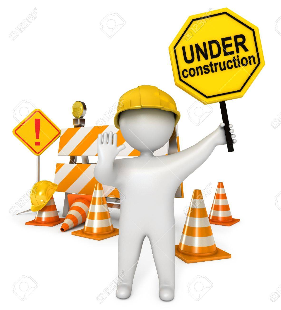 1182x1300 White People Holding A Stop Sign, Under Construction Barrier Stock