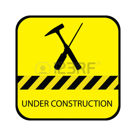 450x450 Sign Area Under Construction. Warning Symbol In Yellow Triangle