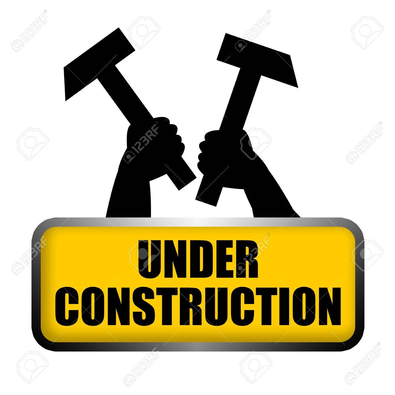 1300x1300 Under Construction Roadsign Plate With Raised Up The Arms