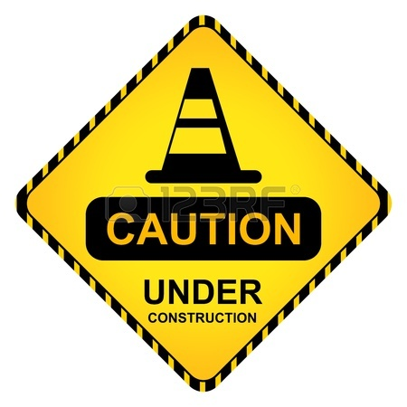 450x450 Under Construction Sign With Yellow And Black Line Background